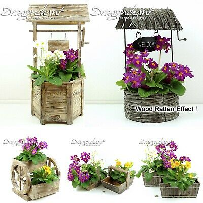 CLEARANCE! Wooden Planter Wsihing Well Wheel Wagon Patio Herb Flower Box Rattan
