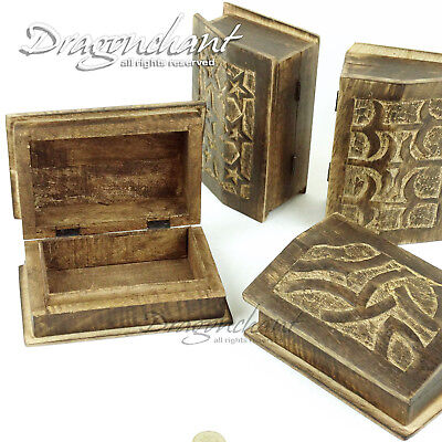 CLEARANCE! Hand Craved Wooden Box Jewellery Incense Storage SET of 3 or Single