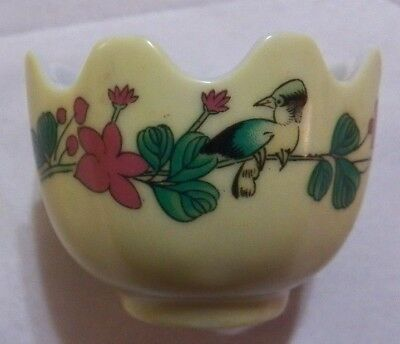 Vintage Chinese Scalloped Porcelain Hand Painted Egg Cup Holder Birds & Flowers