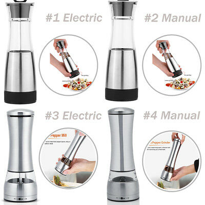 Stainless Steel Manual/Electric Kitchen Salt & Pepper Mill Spice Grinder Tool HG