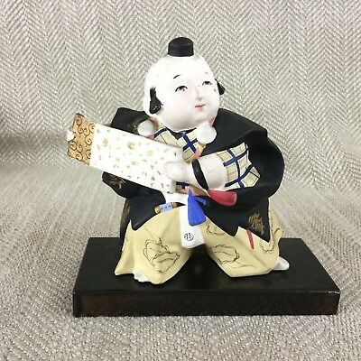 Vintage Japanese Doll Figure Gofun Clay Pottery Hand Painted Figurine