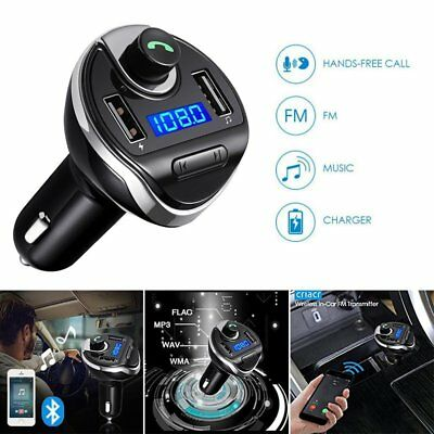 Bluetooth FM Transmitter Wireless In-Car Radio AUX Adapter Car Kit Dual USB Port
