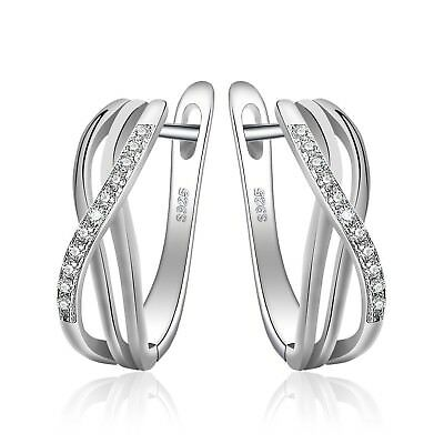JewelryPalace Infinity Knot Cubic Zirconia Anniversary Huggie Hoop Earrings 925