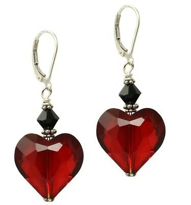Gothic Victorian Style Dark Ruby Red Crystal Heart and Sterling Silver Lever Bac