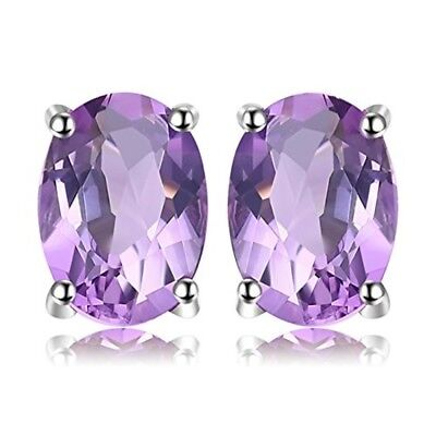 Oval 1.4ct Natural Purple Amethyst Birthstone Stud Earrings Pure 925 Silver