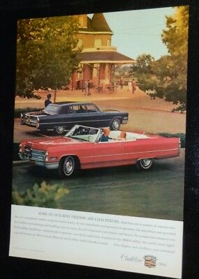 Superb 1966 Cadillac Coupe Deville Convertible & Limo Ad - Vintage 60S American