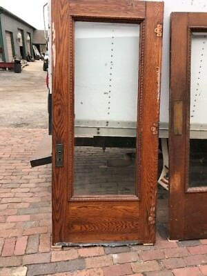 Mar 27 Antique Beveled Glass Full  View Oak Entrance Door 36 x 81.5