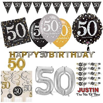 50th Gold Celebration Birthday Party Supplies Balloons Tableware & Decorations