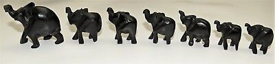 Elephants hand carved set - Ebony - Miniature -