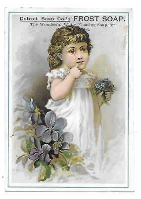Detroit Soap Co.'s Frost Soap Victorian Trade Card Girl With  Flowers
