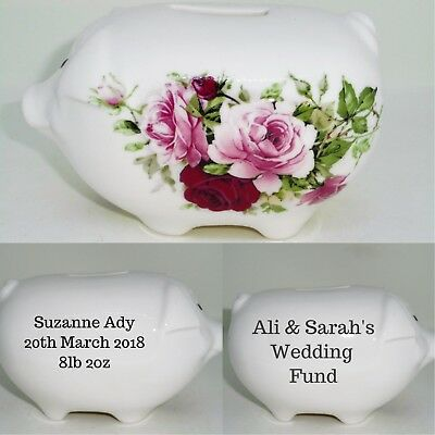 BN Boxed Fine Bone China Vintage Floral Style Personalised Money Box, Piggy Bank