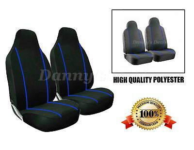 Black Blue Trim Front Seat Covers Set Single x2 For Nissan Qashqai 2007 - 2013