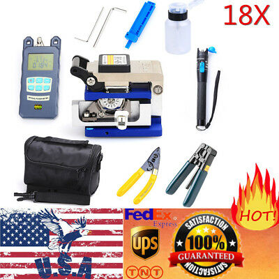 18Pcs Optic FTTH Tool Kit With FC-6S Fiber Cleaver & Optical Power Meter Finder