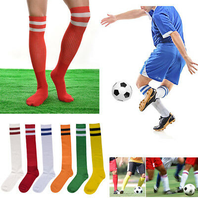 e1b35341839 Men Sport Knee High Long Socks Stripe Football Soccer Socks Baseball Sock