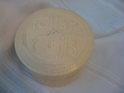 Beautiful Ivory Colored Antique Celluloid Collar & Cuff Box
