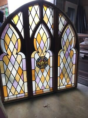 "M A R Antique Stainglass Gothic Arch Window And Casement 6'x66""w"