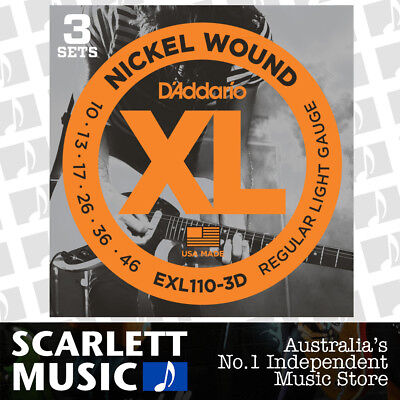 D'Addario EXL110-3D 3-Set Electric Guitar Strings Light 3 Pack EXL-110 10-46