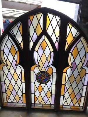 MAR Antique Gothic Design Stainglass Window 6' X 66 Wide