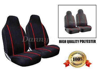 Black Red Trim Front Seat Covers Set Single x2 For Nissan Qashqai 2007 - 2013