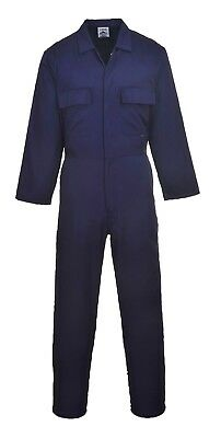Portwest S999 Navy Euro Work Poly/Cotton Coverall, Mechanic/Boilersuit, S - 4XL
