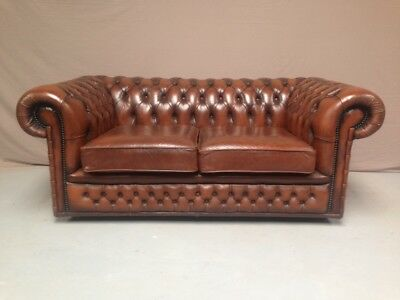 Canape Chesterfield Marron 2 Pl
