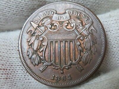 1864 U.S. 2 cent copper two cent piece higher grade with free shipping