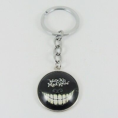 'WE'RE ALL MAD HERE' CHESHIRE CAT KEYRING key alice in wonderland smile disney
