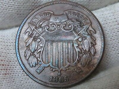 1865 U.S. 2 cent copper two cent piece higher grade with free shipping