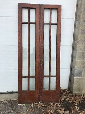 MAR 38 match Pair antique oak townhouse beveled French doors 36 x 84