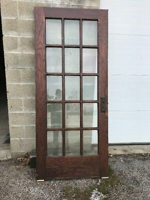Mar 39 Antique All Beveled Glass Oak French Door 35.75 X 83.25