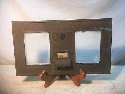 Vintage Brass Double US  Post Offic Box Front picture Frame Beveled glass