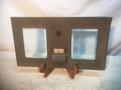 Vintage Brass Double US  Post Offic Box Front picture Frame Beveled glass LOT 2