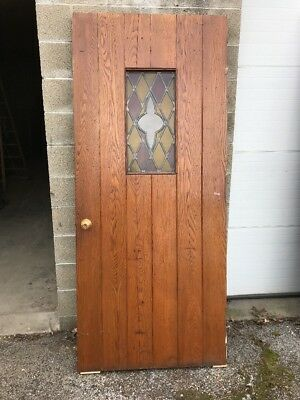 MAR 42 Antique Oak Or Chestnut Entry Door Stain Glass 35 5/8 X 83