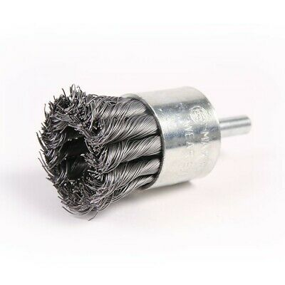 "1-1/8"" Wire Knot End Brush Carbon Steel with 1/4"" Shank For Die Grinder or Drill"