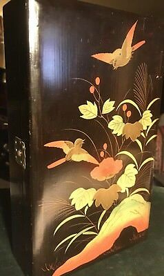 Vintage Japanese Lacquer Ware Box Black Gold Hand Painted Wooden kodansu