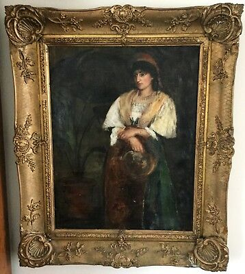 Antique Victorian Oil Painting Framed Girl Lady Gypsy Orientalist Aesthetic