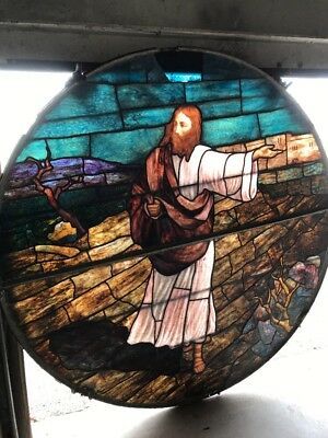 Amazing Antique Circular Jesus Christ Sowing Seeds Stain Glass Window 77 Inch