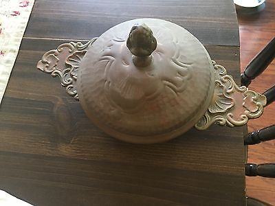 ANTIQUE  Copper  Bowl w/BRASS Handle- Lid -ACORN ON TOP-TIN LINED