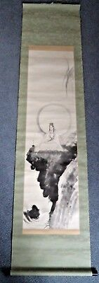 190 CM! ANTIQUE JAPANESE MEIJI c1900 GUANYIN IDOL SCROLL PAINTING - SIGNED