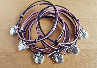 Set of 6 HEN PARTY BRACELETS - Pink and Black - Accessories Gifts Favours *NEW*