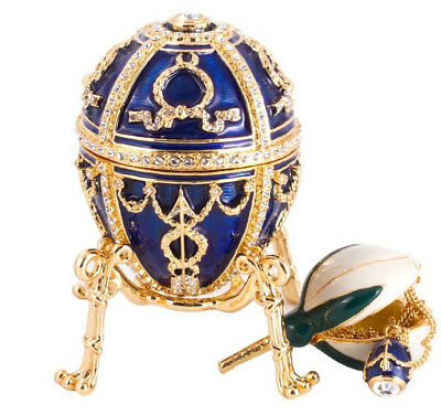 Russian Faberge Egg Blue Jewelry Box Made Russia Easter Rosebud Egg w/ Surprise