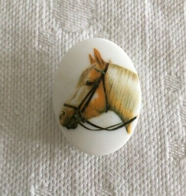 Vintage Pin With Horse Head Image Oval Shaped Brooch Lapel Unique Equestrian