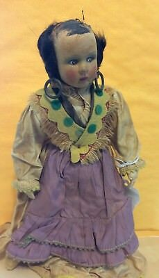 Vintage Handmade doll Indian dress possible indian made damage to head