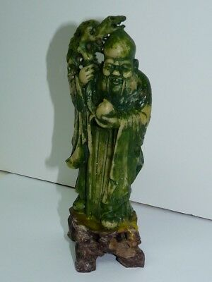 Old Chinese Hand-Carved Soapstone Statuette Figurine Wise Elder Man, H 16 cm