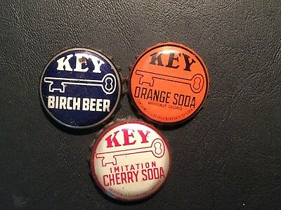 3  Different   Key   Soda  Bottle Caps  - used  -   Cork  Lined