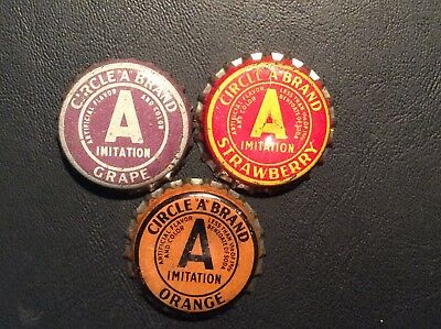 "3  Different   Circle ""A"" Brand   Soda  Bottle Caps  - used  -   Cork  Lined"