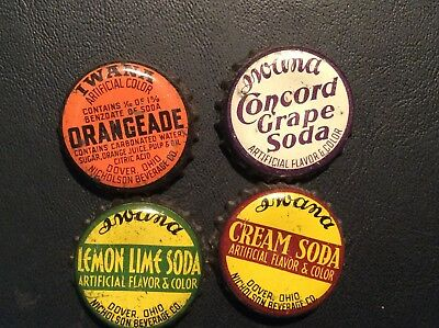 4  Different   Iwana   Soda  Bottle Caps  - used  -   Cork  Lined