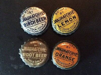 4  Different  Wauhatchie  Soda  Bottle Caps  - used  -   Cork  Lined