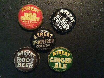 5  Different  A - Treat  Soda  Bottle Caps  - used  - Plastic  Lined