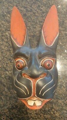 Bali Indonesian Rabbit Wood Mask Hand Carved And Painted